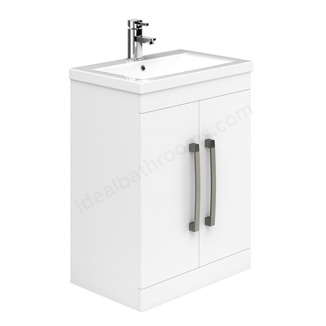 Essential NEVADA Floor Standing Washbasin Unit + Basin; 2 Doors; 600mm Wide; White