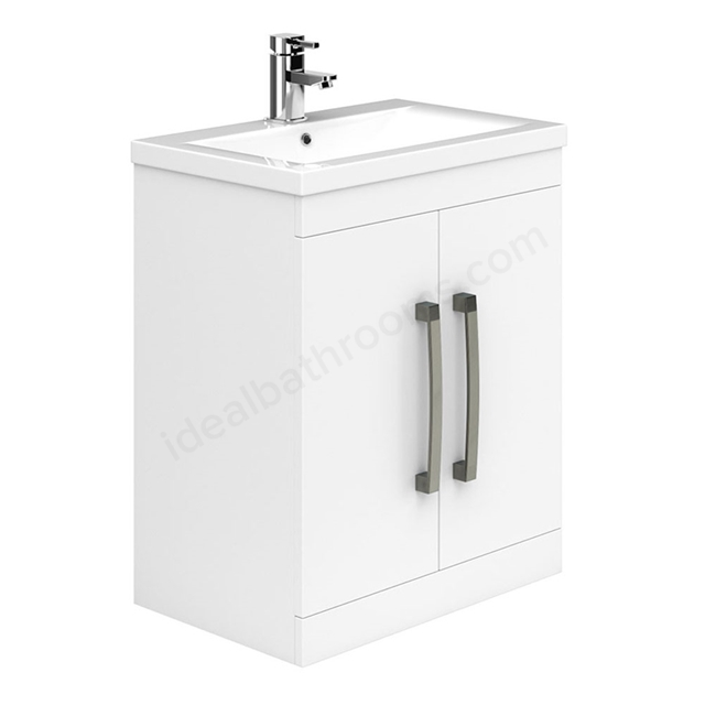 Essential NEVADA Floor Standing Washbasin Unit + Basin; 2 Doors; 800mm Wide; White