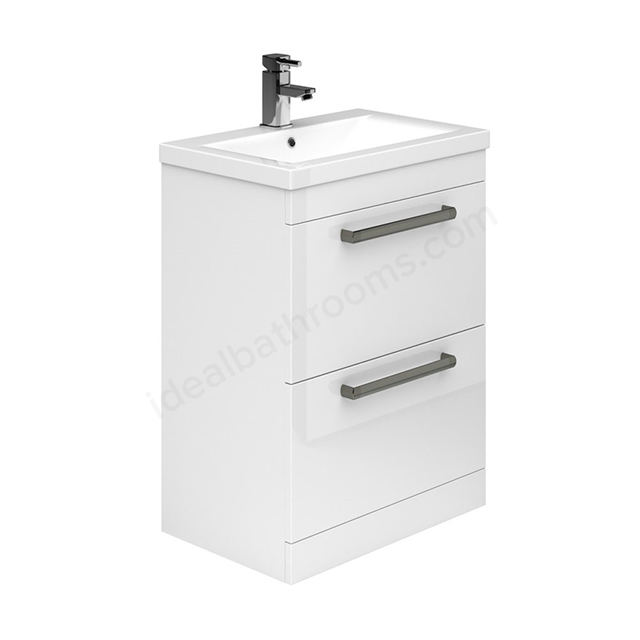 Essential NEVADA Floor Standing Washbasin Unit + Basin; 2 Drawers; 600mm Wide; White
