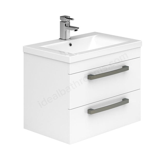 Essential NEVADA Wall Hung Washbasin Unit + Basin; 2 Drawers; 800mm Wide; White