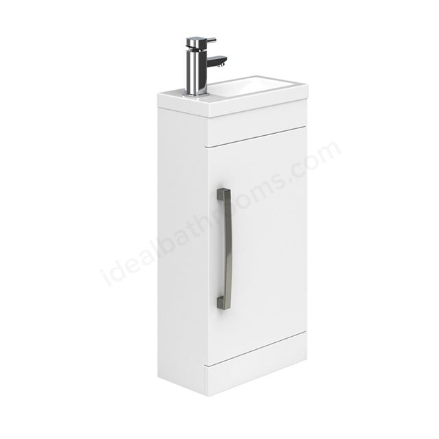 Essential NEVADA Floor Standing Washbasin Unit + Basin; 1 Door; 400mm Wide; White