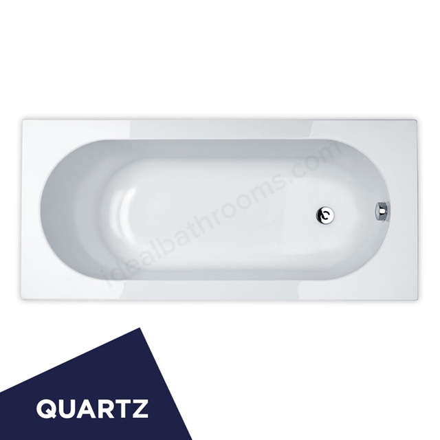 Essential KINGSTON Rectangular Single Ended Bath; Quartz; 1700x700mm; 0 Tap holes; White
