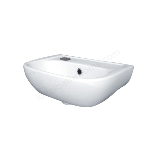 Essential FUCHSIA Handrinse Basin Only, Left Handed, 380mm Wide, 1 Tap Hole, White