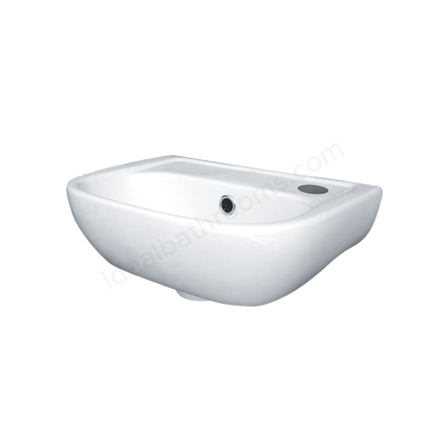 Essential FUCHSIA Handrinse Basin Only, Right Handed, 380mm Wide, 1 Tap Hole, White