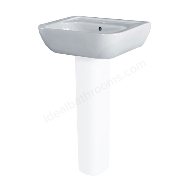 Essential FUCHSIA Pedestal Basin Only, 450mm Wide, 1 Tap Hole, White
