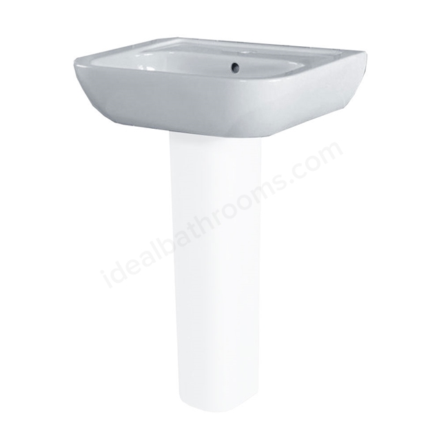 Essential FUCHSIA Pedestal Basin Only, 550mm Wide, 1 Tap Hole, White