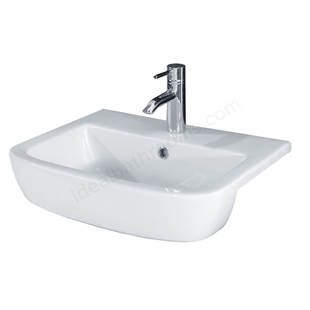 Essential ORCHID Semi Recessed Basin Only; 520mm Wide; 1 Tap Hole; White
