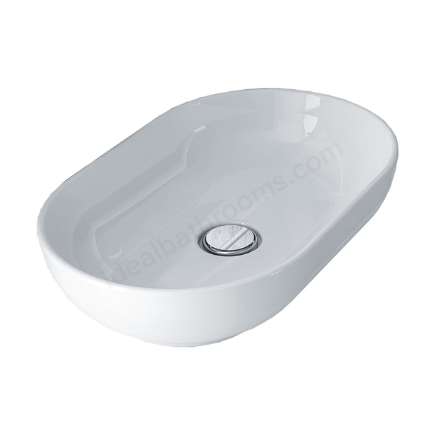 Essential LAVENDER Oval Vessel Basin, 550mm Wide, 0 Tap Hole, White