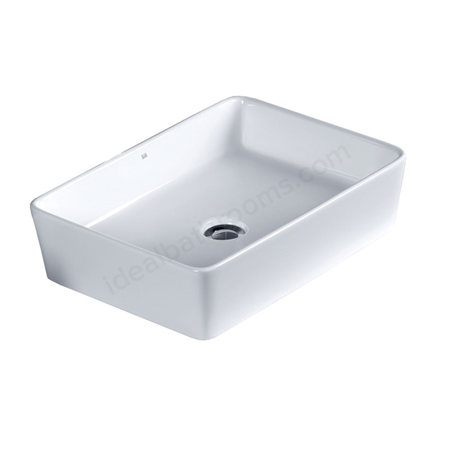 Essential LAVENDER Square Vessel Basin, 550mm Wide, 0 Tap Hole, White