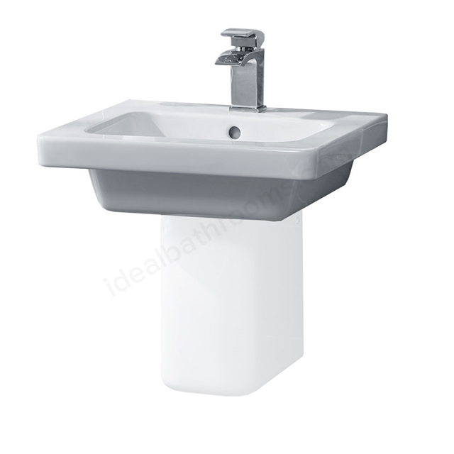 Essential IVY Pedestal Basin Only; 500mm Wide; 1 Tap Hole; White