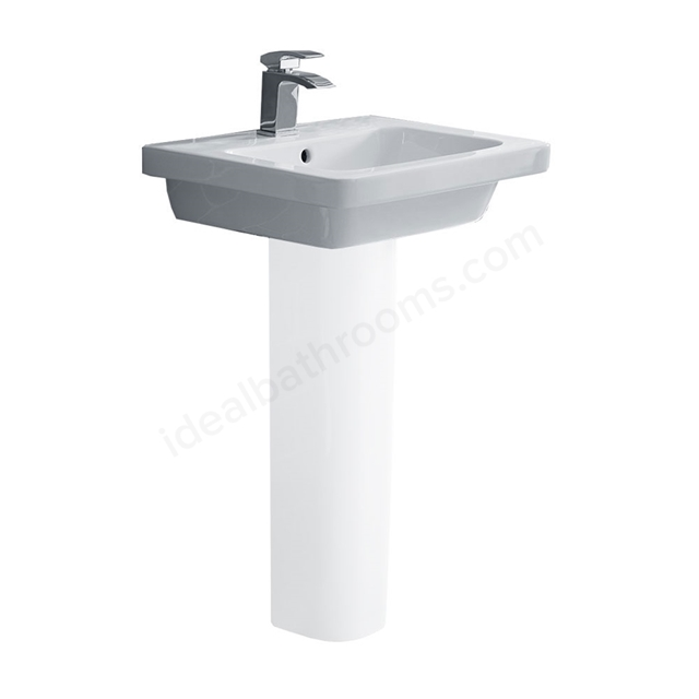 Essential IVY Pedestal Basin Only; 550mm Wide; 1 Tap Hole; White