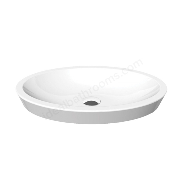 Essential IVY Vessel Oval Basin Only; 580mm Wide; 0 Tap Hole; White