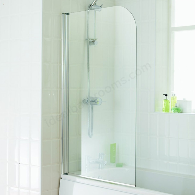 Essential ELEMENT Curved Bath Screen; 750mm Wide x 1300mm High; 4MM Glass