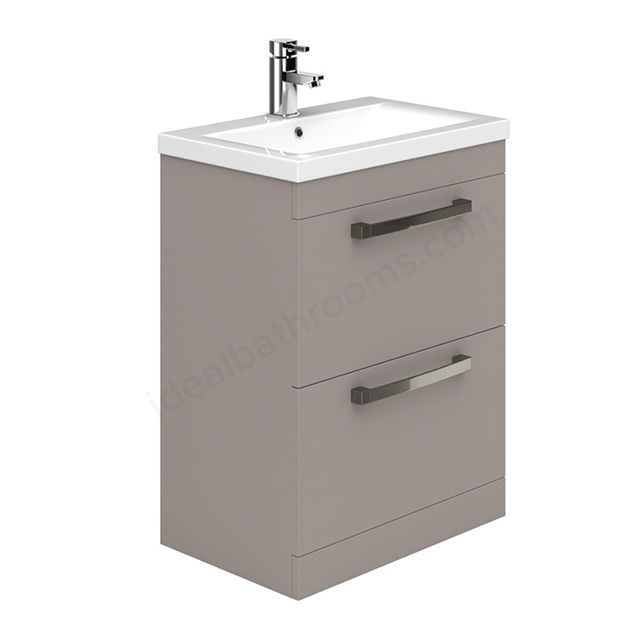 Essential NEVADA Floor Standing Washbasin Unit + Basin; 2 Drawers; 600mm Wide; Cashmere