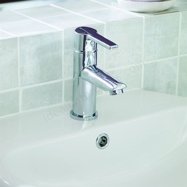 Essential DAWN Basin Mixer Tap; 1 Tap Hole; Push Top Waste; Chrome ...