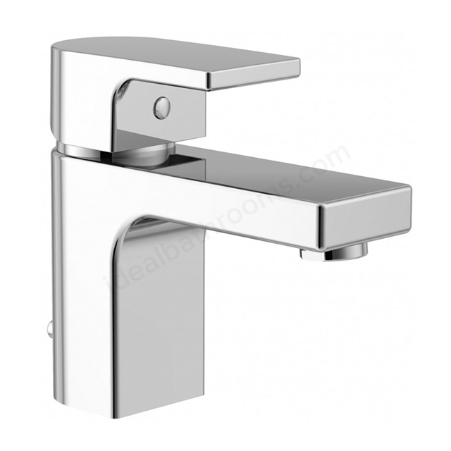 Essential DUSK Basin Mixer Tap, 1 Tap Hole, Push Top Waste, Chrome