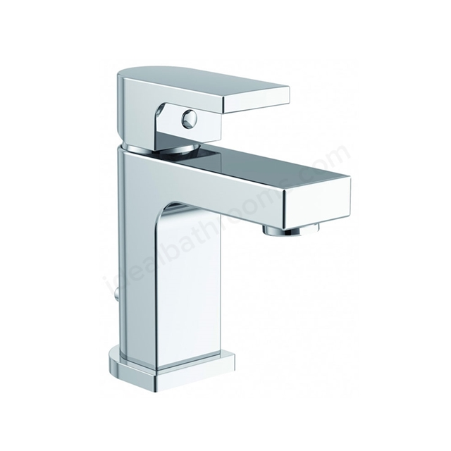 Essential DUSK Mini Basin Mixer Tap, 1 Tap Hole, Push Top Waste, Chrome