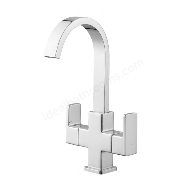Essential STORM Basin Mixer Tap, 1 Tap Hole, Push Top Waste, Swivel Spout, Chrome