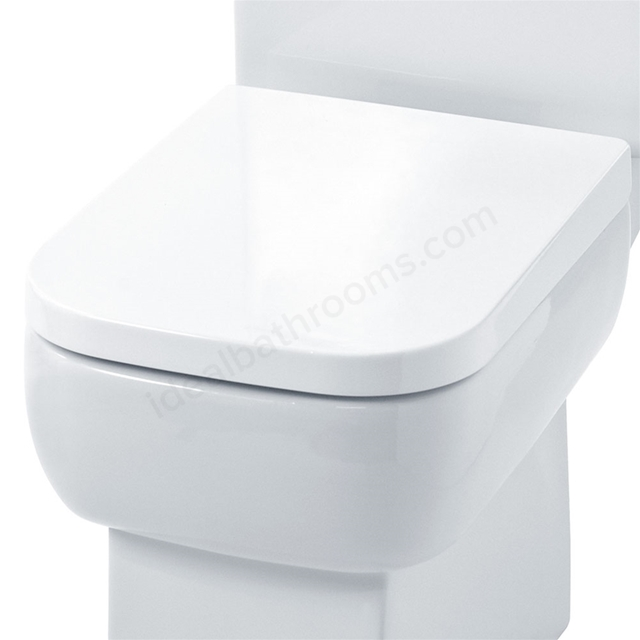 Essential ORCHID Toilet Seat & Cover; Square Shape; Soft Close Hinge; White